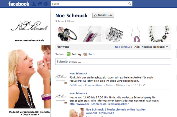 Screenshot Noe Schmuck Onlineshop Facebook Profil